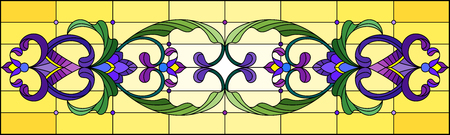 Illustration in stained glass style with abstract  swirls,flowers and leaves  on a yellow background,horizontal orientation