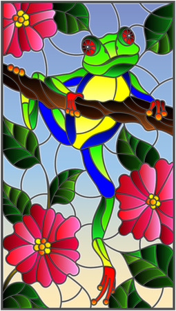 Illustration in stained glass style with bright green frog on plant branches background with flowers and leaves  on sky background