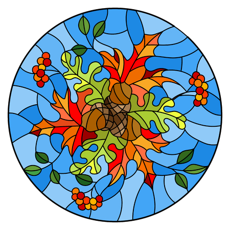 Illustration in stained glass style with autumn composition, bright leaves and fruits on blue background, round image Illustration