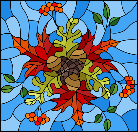 Illustration in stained glass style with autumn composition, bright leaves and fruits on blue background, rectangular image