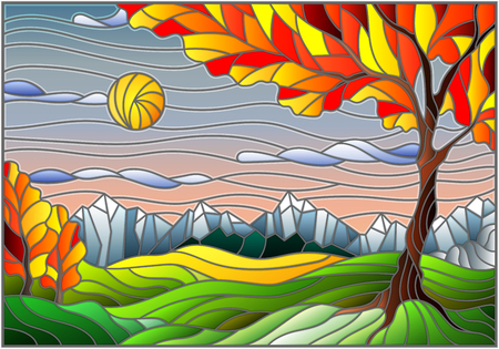 Illustration in stained glass style with autumn landscape,  tree on mountain landscape and Sunny sky background