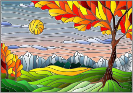 Illustrazione in stile vetrata con paesaggio autunnale, albero su paesaggio di montagna e sfondo del cielo soleggiato Vettoriali