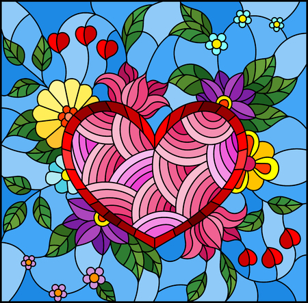 Illustration in stained glass style with abstract heart and flowers on blue background