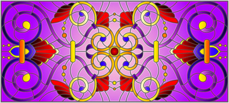 Illustration in stained glass style with abstract  swirls,flowers and leaves  on a purple background,horizontal orientation Illustration