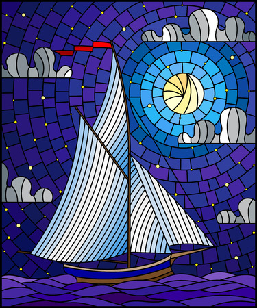 Illustration in stained glass style with an ship sailing with white sails against the sea, moon and starry sky, seascape