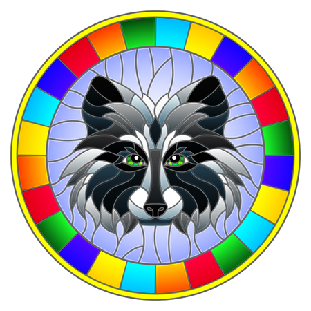The illustration in stained glass style painting with a raccoon head , a circular image with bright frame Illustration