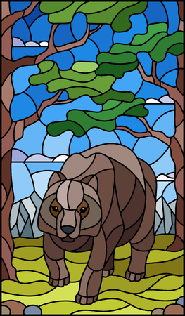 Illustration in stained glass style with wild bear on the background of trees, mountains and sky