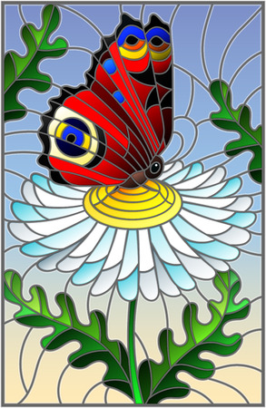 Illustration in stained glass style with a white chamomile flower and bright butterfly on a sky background 矢量图像