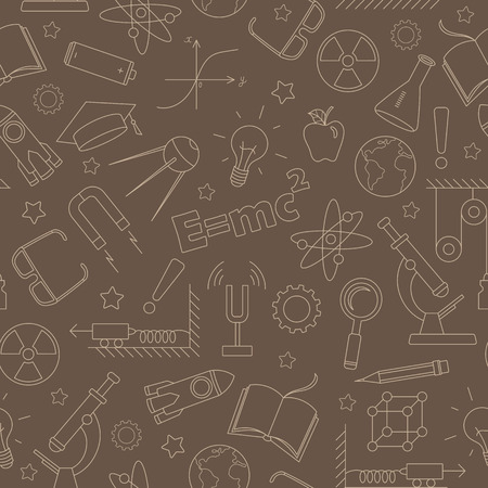 Seamless pattern on the theme of the subject of physics education, simple  contour beige outline on a brown background