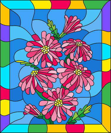 Illustration in stained glass style with three bright pink flowers  , buds and leaves on a blue background in bright frame