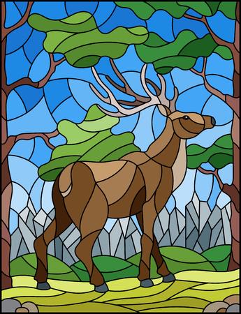 Illustration im Buntglasstil mit wildem Hirsch auf dem Hintergrund von Bäumen, Bergen und Himmel