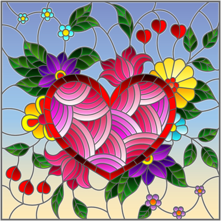 Illustration in stained glass style with abstract heart and flowers on blue background Vettoriali