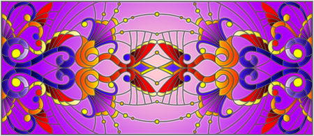 Illustration in stained glass style with abstract  swirls,flowers and leaves  on a purple background,horizontal orientation  イラスト・ベクター素材