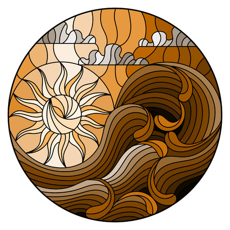 The illustration in stained glass style painting abstract landscape sea waves on the background of Sunny sky and clouds, round illustration,tone brown