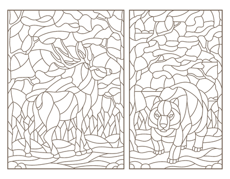 Set of contour illustrations of stained glass with a bear   and deer on forest landscape background, dark outlines on white background