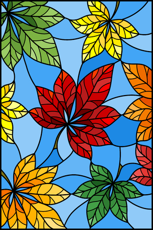 Illustration in stained glass style with colorful leaves of chestnut trees on a blue  background