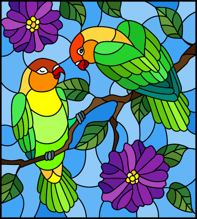 Illustration in stained glass style  with pair of birds parrots lovebirds on branch  tree with purple flowers against the sky