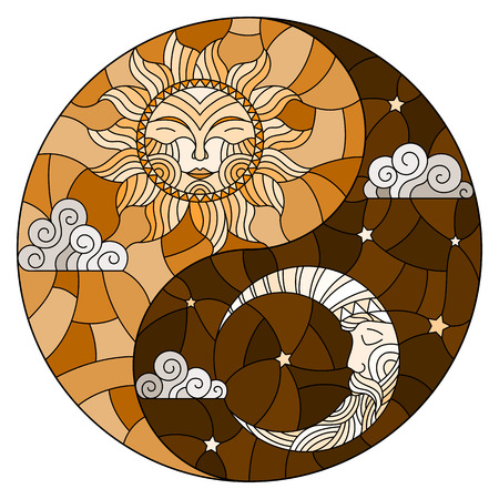 Illustration with sun and moon on sky background in the form of Yin Yang sign, circular image,,tone brown