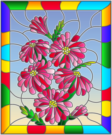 Illustration in stained glass style with bright pink flowers  , buds and leaves on a sky background in bright frame Ilustração