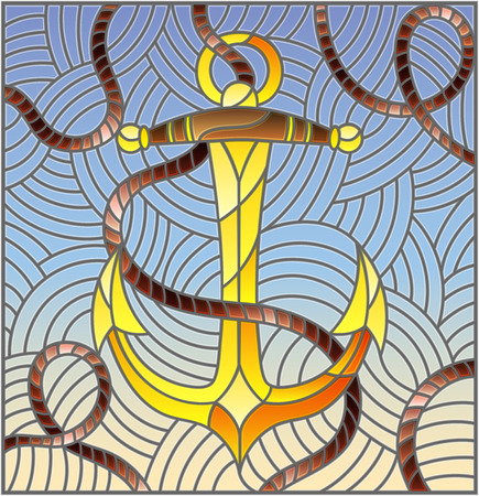 Illustration in stained glass style with ship anchor and rope on the background of waves