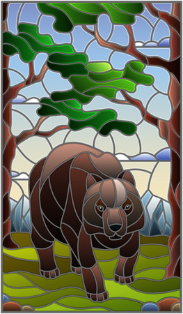 Illustration in stained glass style with wild bear on the background of trees, mountains and sky Illustration