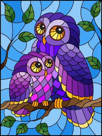 Illustration in stained glass style with fairy owl and owlet on a tree branch against the sky