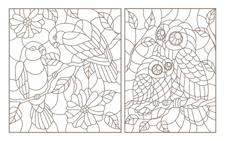 A set of contour illustrations in the style of stained glass with birds, a pair of parrots lovebirds and owl with owlet, dark contours on a white background Illustration