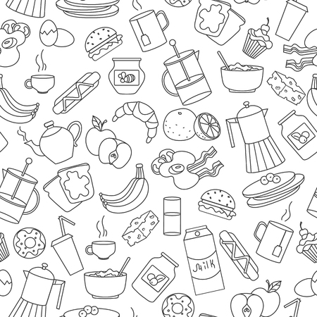 Seamless pattern on theme of food and breakfast , simple contour icons,dark outlines on white background