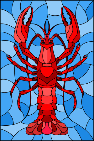 Illustration in stained glass stile with abstract red crayfish on a blue background