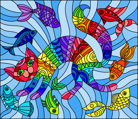 Illustration in stained glass style abstract geometric rainbow cat and fish on a blue background Illustration
