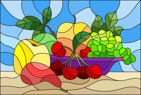 Illustration in stained glass style with still life, fruits and berries in purple bowl on a blue background