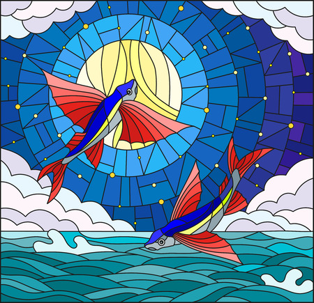 Illustration in stained glass style with a pair of flying fish on the background of water ,cloud, starry sky and moon Illustration