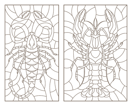 Set of contour illustrations of stained glass Windows with Scorpion and cancer, dark contours on a white background