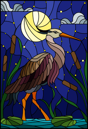 Illustration in stained glass style with brown  heron ,  reeds on a pond in the moon, starry sky and clouds