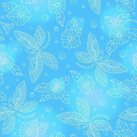 Seamless pattern with colorful dragonflies and flowers ,light  outlines on blue background