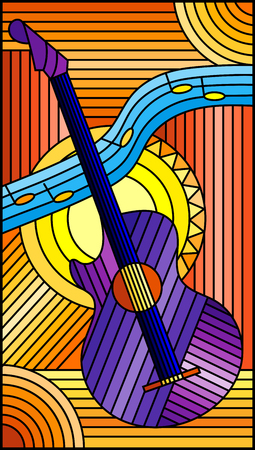 Illustration in stained glass style on the theme of music, abstract purple guitar and notes on an orange background Illustration