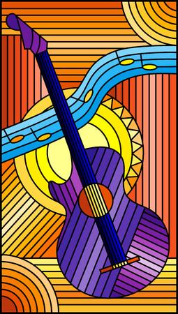Illustration im Buntglasstil über das Thema Musik, abstrakte lila Gitarre und Notizen auf einem orangefarbenen Hintergrund