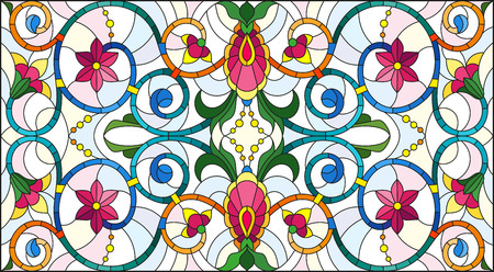 Illustration in stained glass style with abstract swirls,flowers and leaves on a light background,horizontal orientation Vector Illustration