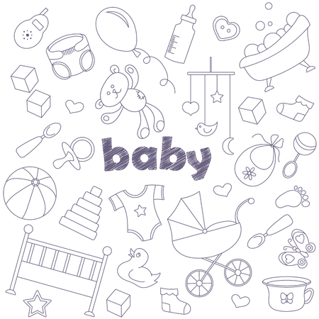 Icons set of patches on the topic of childhood and newborn , simple contour icons, dark outlines on light background