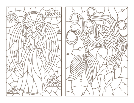 Set of contour illustrations of stained glass Windows with a girl angel and a mermaid, dark contours on a white background Ilustração