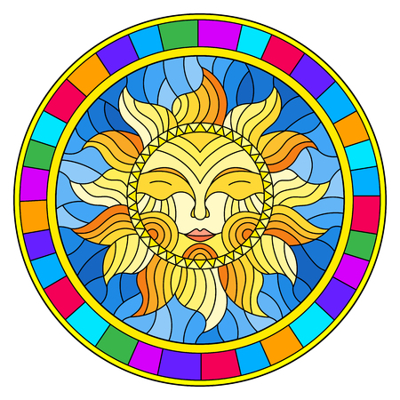 Illustration in the style of a stained glass window with abstract sun in bright frame,round image Banque d'images - 106048807