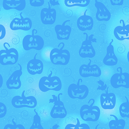Seamless pattern on the theme of Halloween, different shapes of pumpkin on blue background