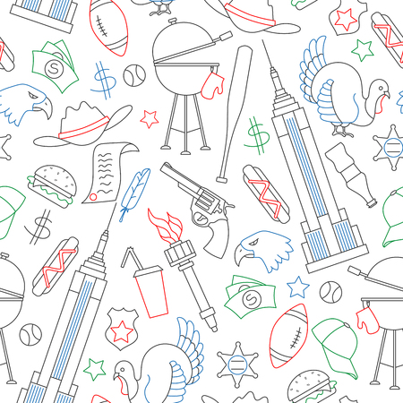 Seamless pattern on the theme of journey in the country of America, simple contour color icons on white background Illustration
