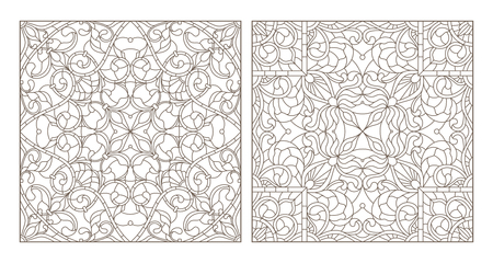 Set contour illustrations of stained glass with abstract swirls and flowers , square image