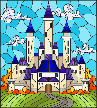Illustration in the style of stained glass with the ancient castle on the background of the cloudy day sky