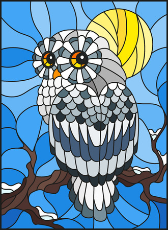 Illustration in stained glass style with white polar owl sitting on a tree branch against the sky and the sun Иллюстрация