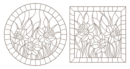A set of contour illustrations of stained glass Windows with daffodils in frames, dark contours on a white background, round and rectangular image