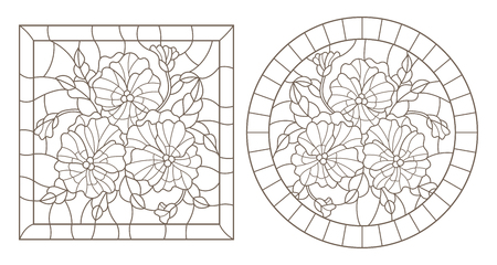 A set of contour illustrations of stained glass Windows with pansys in frames, dark contours on a white background, round and rectangular image