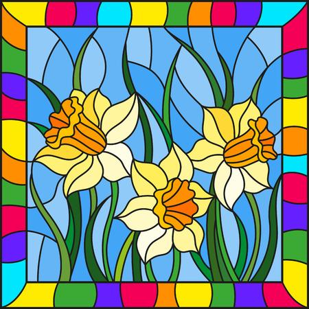 Illustrazione in stile vetro colorato con narcisi gialli su sfondo blu in cornice luminosa, immagine rettangolare Vettoriali