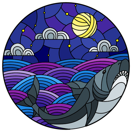 Illustration in stained glass style with shark into the waves, starry sky,moon  and clouds, round image
